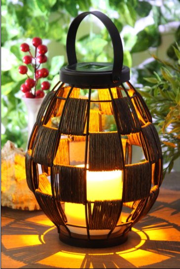Solar Powered Chequered Rattan Lantern-LED Garden Decorative Lights Outdoor