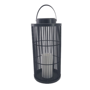 Solar Outdoor Powered Rattan Lantern Column Shaped (Large Size) with LED Candle Holder in Nature Color